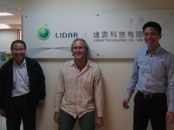 "With CEO ""James"" Jin-King Liu and CFO Ian Hsu in front of the office of LIDAR Technology Co., Ltd."
