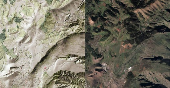 Comparison between orthophoto and DSM on steroids: The ridge is practically invisible in the ortho and the dark green colors of the vegetation are quite missleading to the untrained eye.