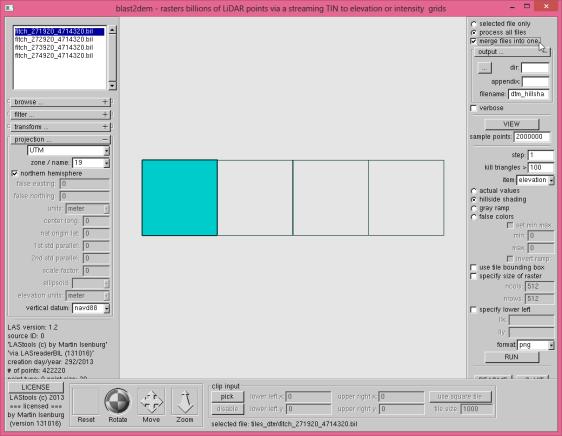 tutorial3 blast2dem GUI dtm merge hillshade