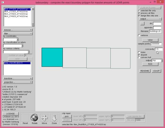 tutorial3 lasboundary GUI merged building footprints