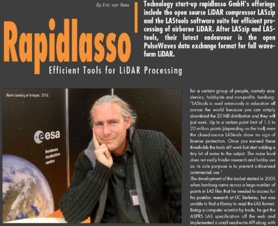 Geoinformatics magazine interviews rapidlasso