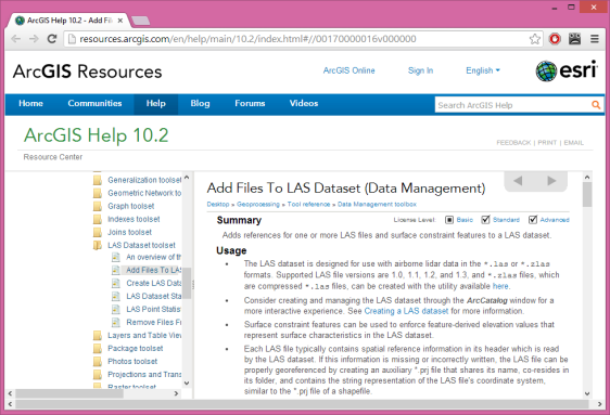 screenshot of ArcGIS 10.2 documentation