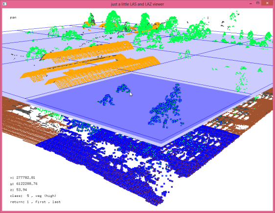 LASeasy optimizes LAS files by reordering points along an adaptive space-filling curve for efficient LiDAR queries in the cloud. To access the corner of the LiDAR tile only the points shown in blue need to be loaded and decompressed.