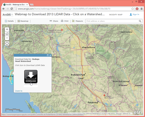 open LiDAR download portal of SonomaVegMap