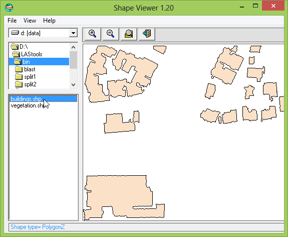 SHP file generated with lasboundary with polygons describing the buildings.