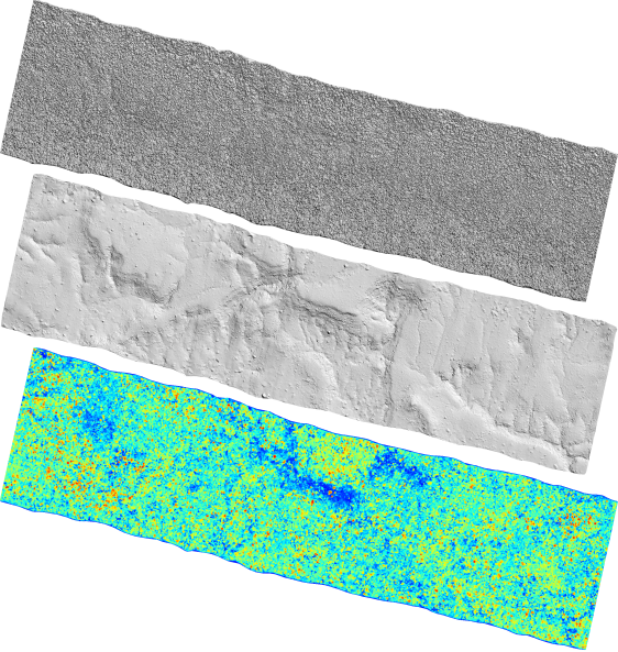 The DSM, DTM, and CHM of the 5.5 km long strip scanned above Khao Yai National Forest.