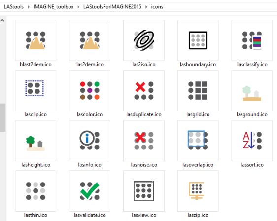 The icons of the 19 LAStools of the new IMAGINE 2015 toolbox for LiDAR Processing