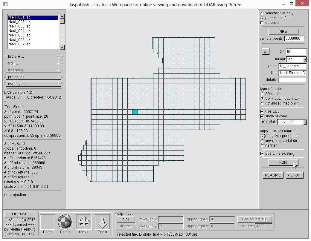 a few clicks and 'laspublish' creates a professional LiDAR portal