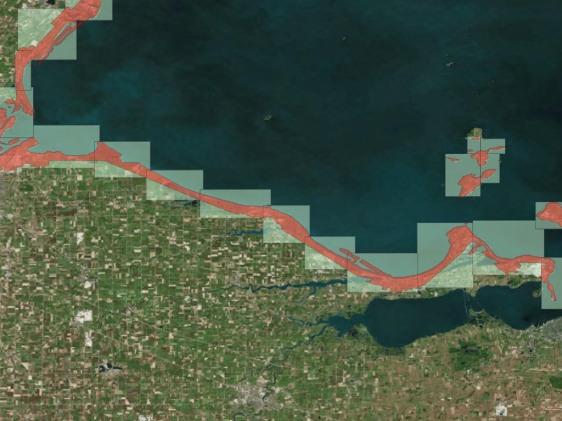 coastal area LiDAR data coverage for Lake Erie