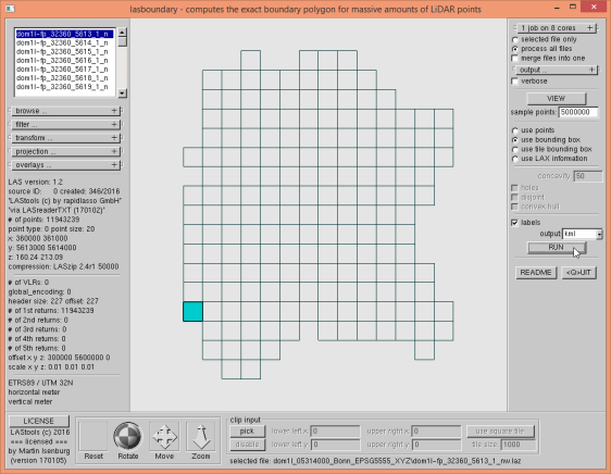 "Only the ""fp"" tiles from the DOM folder loaded the GUI into lasboundary."