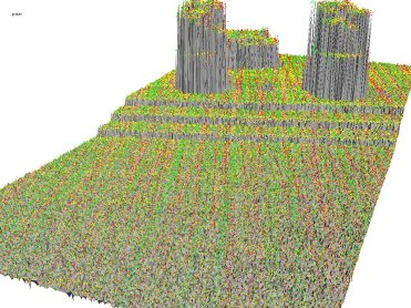 Triangulation of all last returns of mostly flat 10 meter by 5 meter area. Points are colored by flightline ID.
