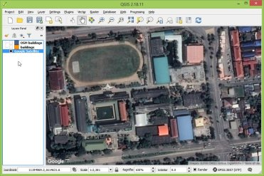 Google Earth satellite imagery via OpenLayers plugin.