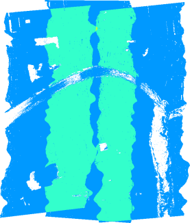 Number of overlapping flightlines: blue=1, turquoise= 2, yellow=3