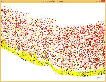 First returns are red, intermediate returns are green, last returns are blue and single returns are yellow.